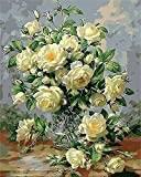 ZXDA Pintura Digital en florero de Pintura al óleo, Flor de Pintura, florero de decoración del hogar Pintado a Mano Pintura Digital decoración del hogar A8 50x70cm