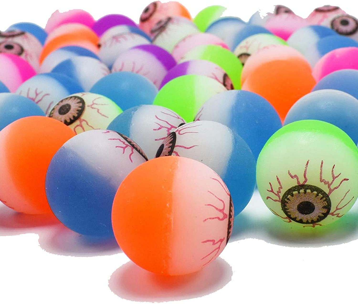 HUPLUE Eyeball Bouncy Balls Small colorful Magic Bounce Balls for Halloween Themed Party Favors Assorted colors 1.2 inches in Diameter 100Pcs