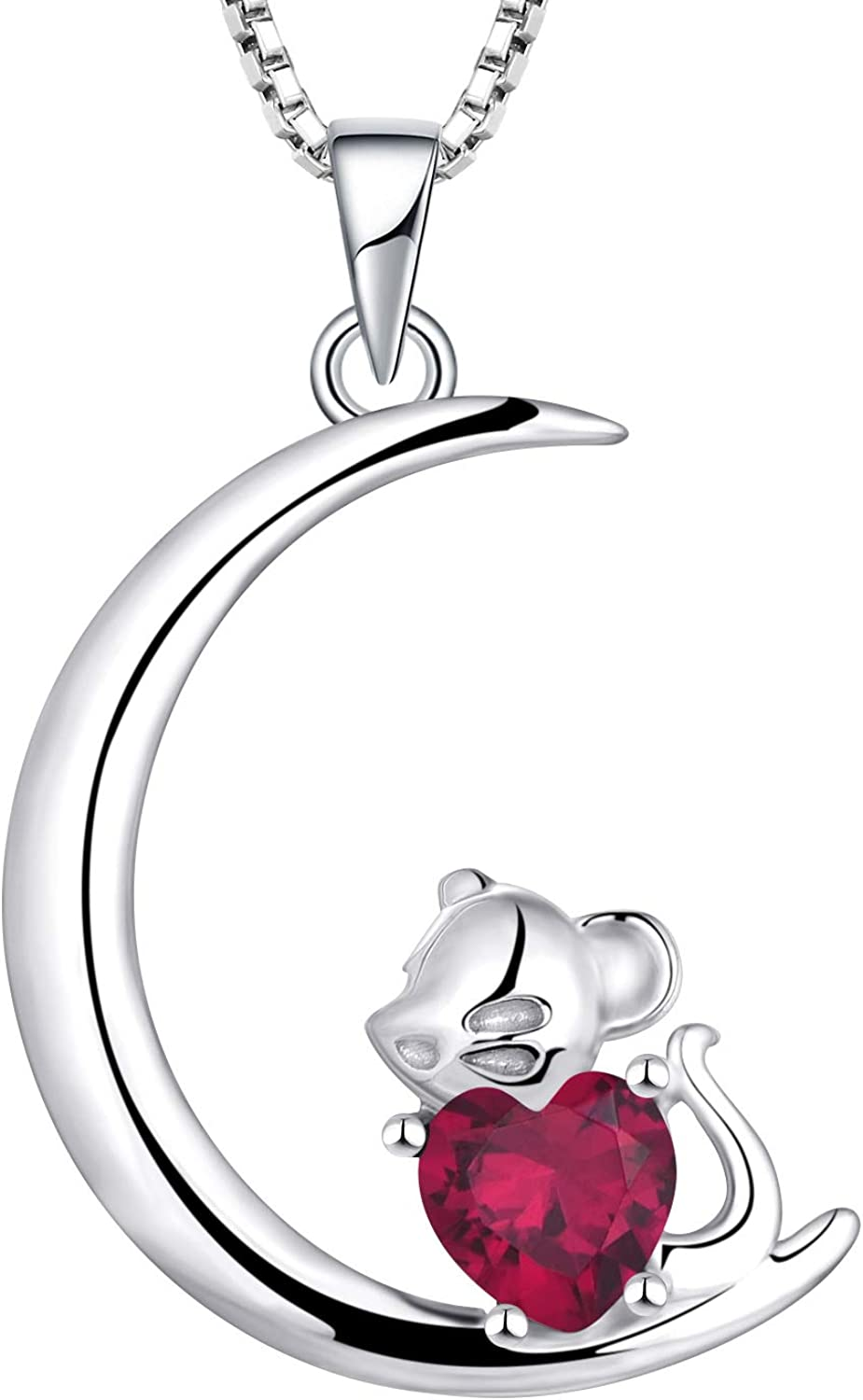 Outlet SALE Starchenie Mouse Moon Necklaces for low-pricing 925 Sterling An Silver Women