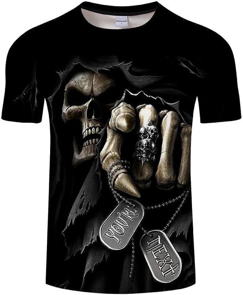 Camiseta Camiseta con Estampado De Calavera 3D Top Suelto De Manga Corta De Verano