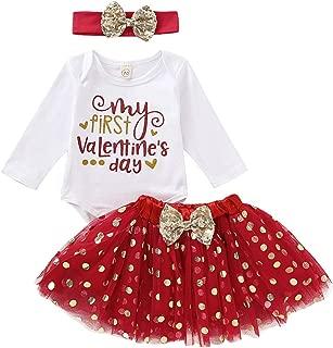 Newborn Infant Baby Girls Skirts Set My First Valentin's Day Bodysuit+Dots Tutu Skirt Clothes Set