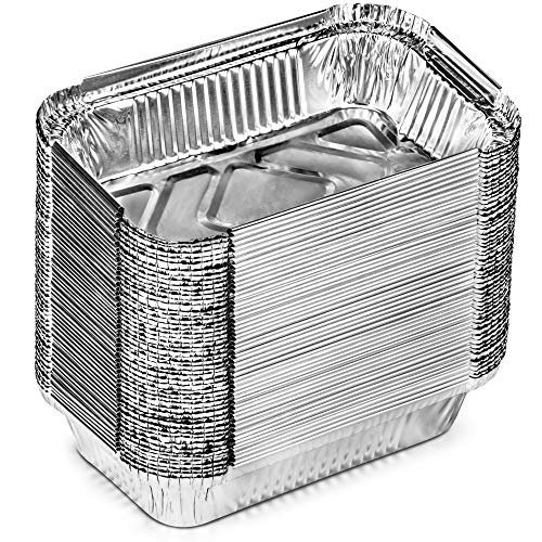 DecoRack 100 Aluminum Pans with Lid, 7 x 4.5 Inch Small Loaf Bread Pans Meal Prep Takeout Container Perfect for Reheating, Baking, Roasting, Food Storage (100 Pack)