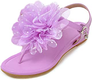 Judy Bacon Women's Floral Mesh Ankle Strap Thong Flats Shoes Purple