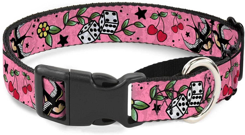 BuckleDown MGCW31218WM Martingale Plastic Clip CollarLucky C U Pink, 16 23