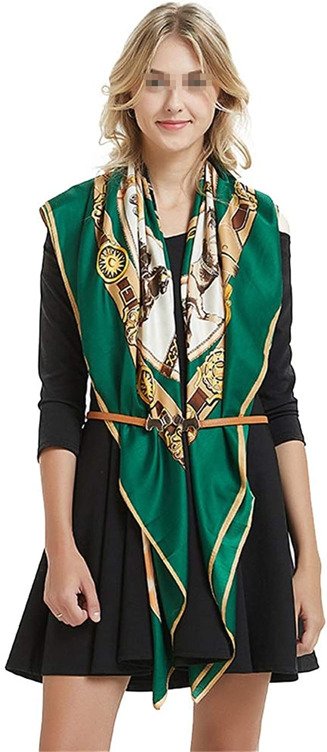 Women's Large Satin Square Silk Feeling Hair Scarf Chain Horse Twill Silk Scarfs 130cm (color   Green, Size   130  130cm)