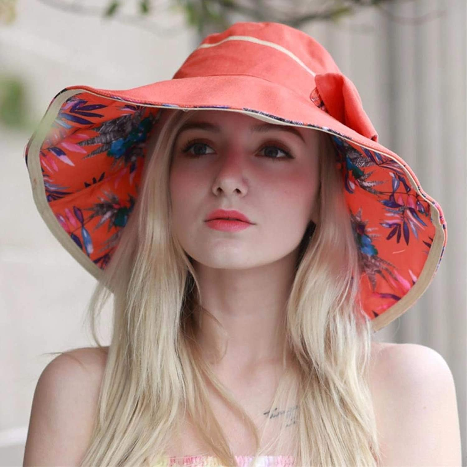 Beach Hat Woman Hat Summer AntiUv Folding Beach Hat Visor orange Summer Sun Hat