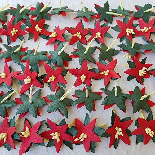 DOWDEGDEE 100 pcs Handmade Mulberry Paper Christmas Star Poinesettia Red Head 3.5 cm Craft Scrapbooking Scrapbook Bow Wedding Doll House Supplies Card