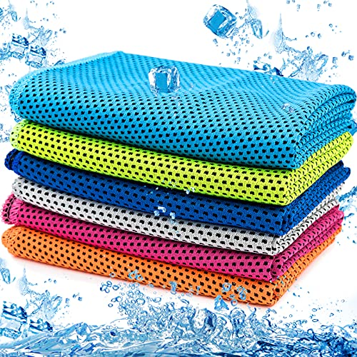 6 Pack Cooling Towel, MENOLY Ice Towel Microfiber Towel Soft Breathable Chilly Towel for Sports, Gym, Yoga, Camping, Running, Fitness, Workout & More Activities