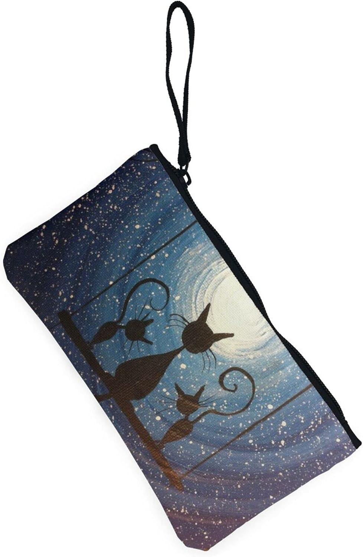 AORRUAM Cat pattern starry sky tree Canvas Coin Purse,Canvas Zipper Pencil Cases,Canvas Change Purse Pouch Mini Wallet Coin Bag