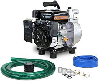 Dirty Hand Tools   101099   1.5 Inch Intake 80 Gallon Per Minute Semi-Trash Water Transfer Pump   Passes Debris up to 3/4 Inches in Diameter   Portable Gas Powered   Hose Kit Included