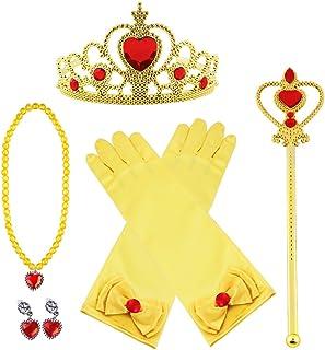 Vicloon 7pcs Princesse Dress Up Accessoires Filles Diadème Baguette Magique Collier Gants Boucles d'oreilles pour Cosplay ...
