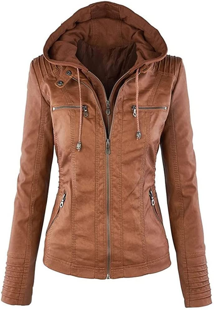 HBIN Women Award-winning store Autumn Winter Faux OFFicial Soft Lady Coats Jackets Leather Bl