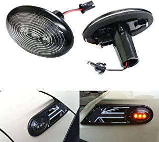 iJDMTOY Black Smoked Lens Amber LED Front Sidemarker Lamps For 06-14 MINI Cooper MKII (2nd Gen)