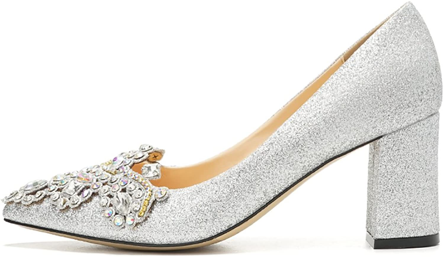 WENJUN Thick with Rhinestones 2018 New Spring Sequins High Heels Silver Wedding shoes Comfortable Pregnant Women Crystal shoes Dress shoes (color   Silver 9CM, Size   37)
