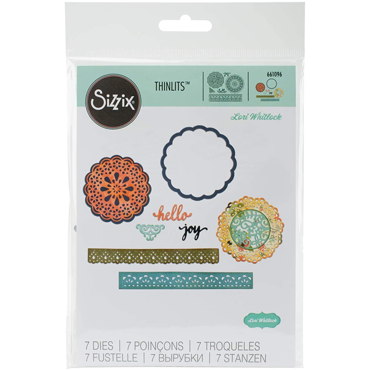 Sizzix Thinlits Die Set, Hello Doily by Lori Whitlock, 7-Pack