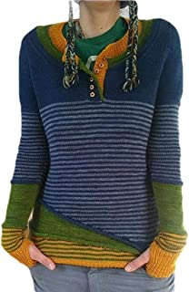 Macondoo Women Fall Winter Stripe Knitted Jumper V-Neck Pullover Sweaters