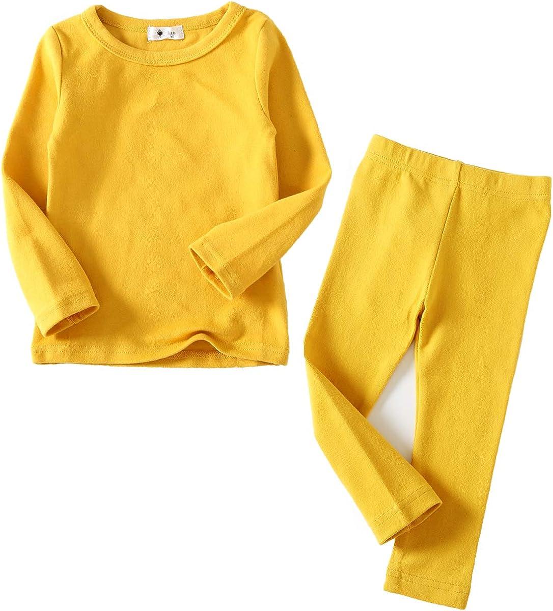 Toddler Girls Boys Pajamas Basic Solid Color Cotton Sleepwear Soft Long Sleeve Pjs 2pcs Set