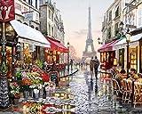 Toudorp Pintar por números, kit de pintura al óleo de bricolaje para niños principiantes, lienzo preimpreso de 16 x 20 pulgadas con pinceles y pigmento acrílico - Romantic Paris Street sin marco