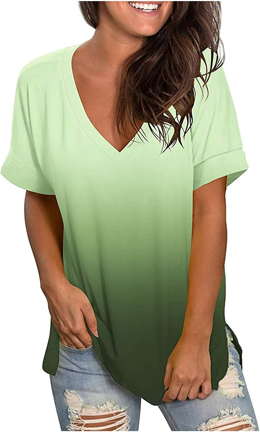 AODONG Summer Tops for Women Short Sleeve, Womens Casual V Neck Gradient T Shirts Graphic Tops Basic Tees Tunic Tops