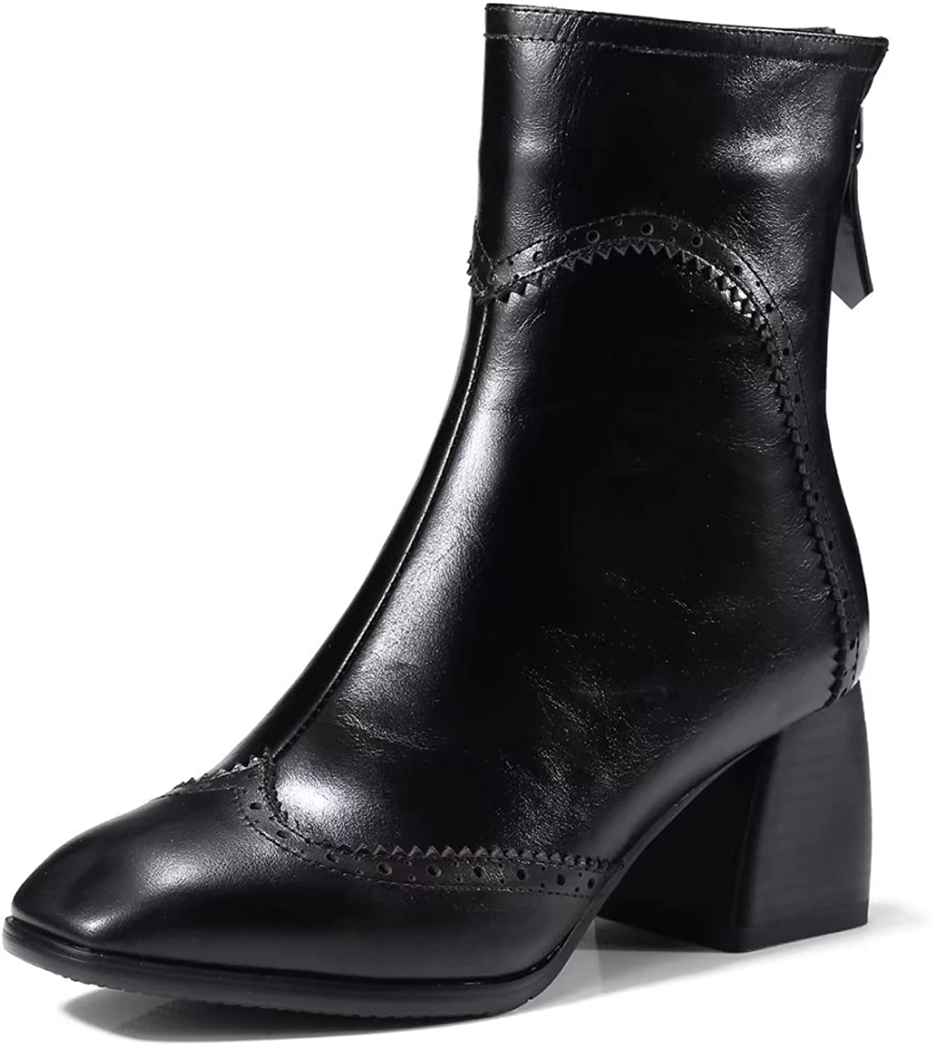 VIMISAOI Women's Black Chunky Heel Square Toe Leather Ankle Boots