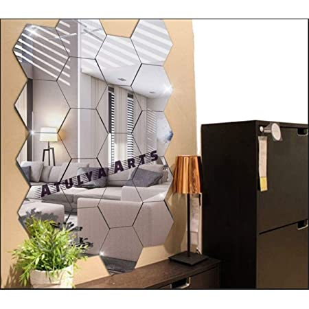 Atulya Arts - 3D Hexagon Decorative Mirror Wall Sticker Stickers (Pack of 20), Acrylic Stickers for Home & Offices(Silver)