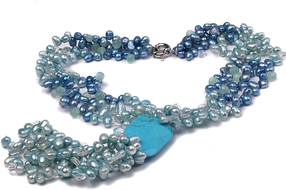 JYX Pearl Multi Strand Neckalce 7x11mm Blue and Dark-Blue Freshwater Cultured Pearl Necklace with Aquamarines and a Turquoise Tassell