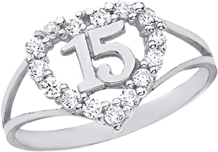 Solid 925 Sterling Silver Sweet 15 Anos CZ Quinceanera Heart Ring