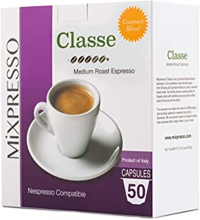 Mixpresso Espresso Capsules Compatible With Nespresso Original Brewers | Single Cup Coffee Pods | from Italy Classe | Medium Roast Espresso, 50 count