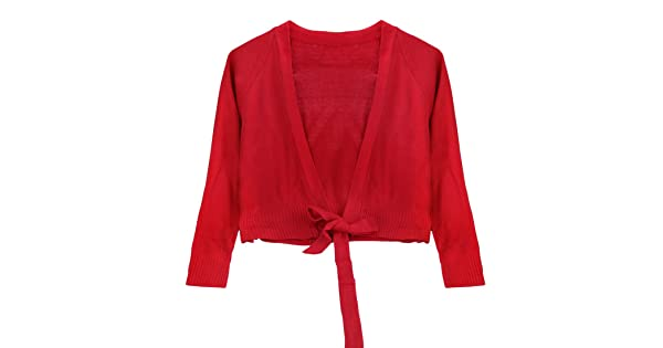 inhzoy Girls Kids Classic Long Sleeve Ballet Knit Wrap Top Athletic Gymnastic Dance Cardigan Sweater Outwear