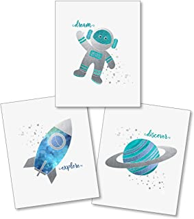 Confetti Fox Boys Nursery Wall Art Decor - Outer Space Planets Rockets Stars - 8x10 Unframed Set of 3 Prints - Baby Kids Bathroom Play Room - Dream Explore Discover