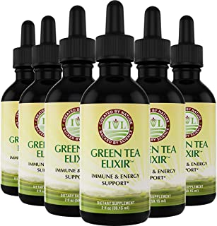 IVL Green Tea Elixir, Energy & Immune Support Dietary Supplement Formula, 2 fl oz (Pack of 6)
