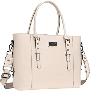 MOSISO PU Leather Laptop Tote Bag for Women (Up to 15.6 inch), Beige