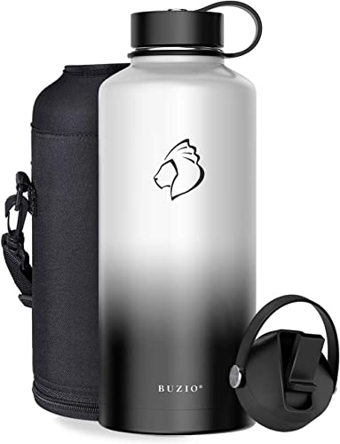 BUZIO Insulated Water Bottle with Straw Lid and Flex Cap, 32oz, 40oz, 64oz, 87oz Modern Double Vacuum Stainless Steel...