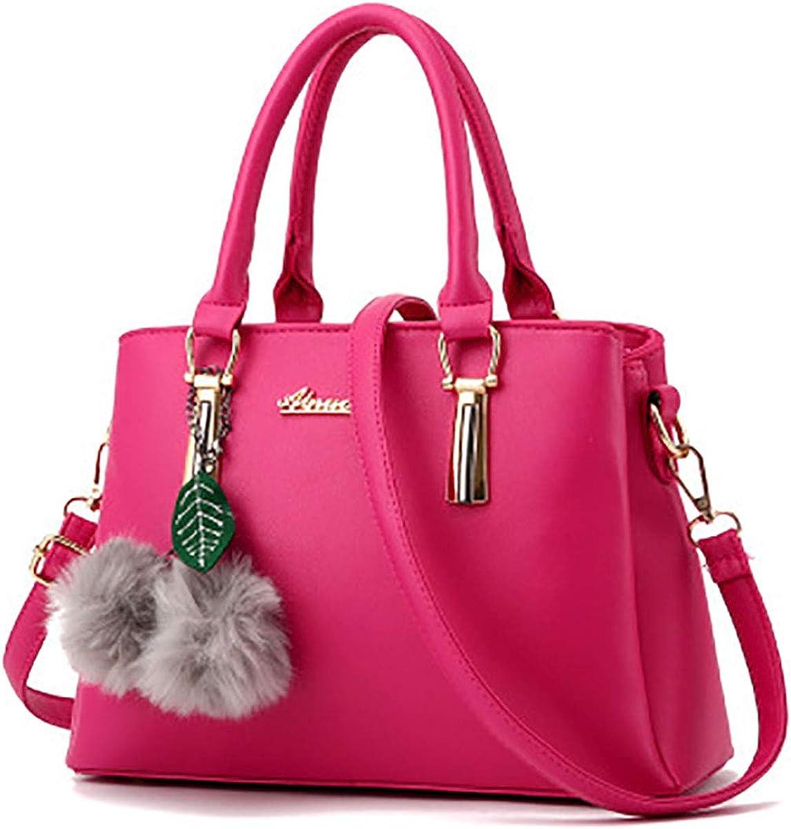 YOUNXSL Women Satchel Bags Handle Shoulder Handbags and Purses Pockets Zipper PU Leather Crossbody Bags