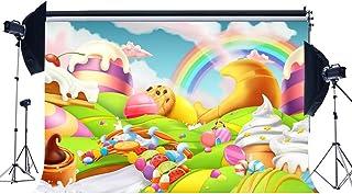 MMPTn Vinilo 7X5FT 1ra Fiesta cumpleaños Contexto Cuento Hadas Helado Rainbow Candy Lollipops Frutas Fantasía Dibujos Animados Fotografía Fondo para Baby Shower Princesa Photo Studio Atrezzo YX730