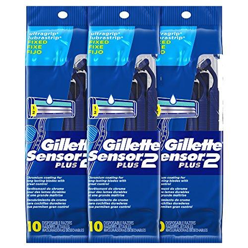 Gillette Sensor2 Plus Fixed Men's Disposable Razor, 10 Count (Pack of 3)