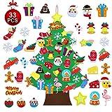 TOBEHIGHER Felt Christmas Tree - 3.6 FT DIY Felt Christmas Tree Set for Kids, 33 Pcs Detachable Ornaments, Door Wall Hanging Xmas Gifts for Christmas Decorations
