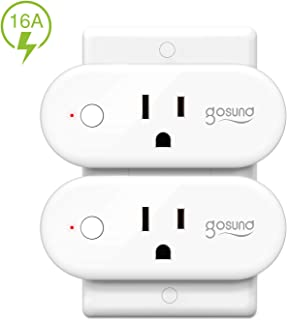 Smart Wifi Plug Work with Alexa Google Home IFTTT, Gosund 16A Smart Outlet Mini Socket with Overload Protection, Reliable Wifi Connection No Hub Required, 2 pack