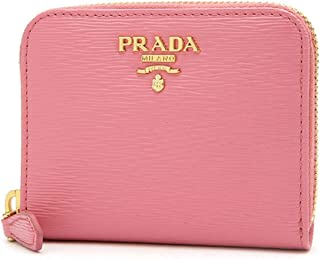 Prada Geranio Pink Saffiano Leather Gold Zip Coin Purse Wallet 1MM268