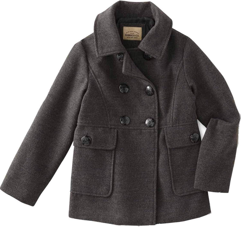 Girls Seasonal Wrap Introduction Gray Single Breast Pea-coat Pockets Button Ranking TOP5 Dress Winter Up