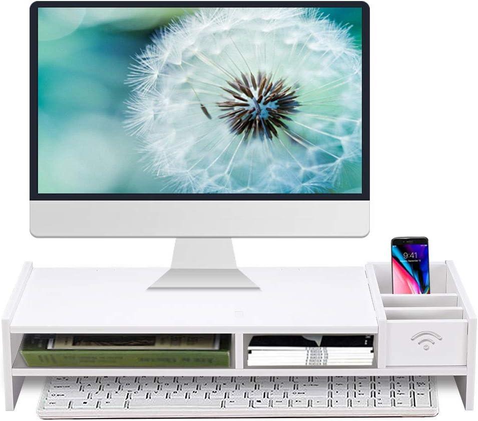 Monitor Stand Riser, Computer Laptop Riser Shelf with Organizer Drawer (White, 19