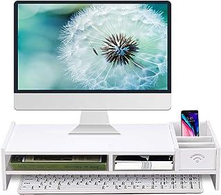 モニター台 Flaneo KD1 机上台 幅48cm 机上ラック 木製 卓上 2段机上收纳パソコンスタンド(ホワイト)
