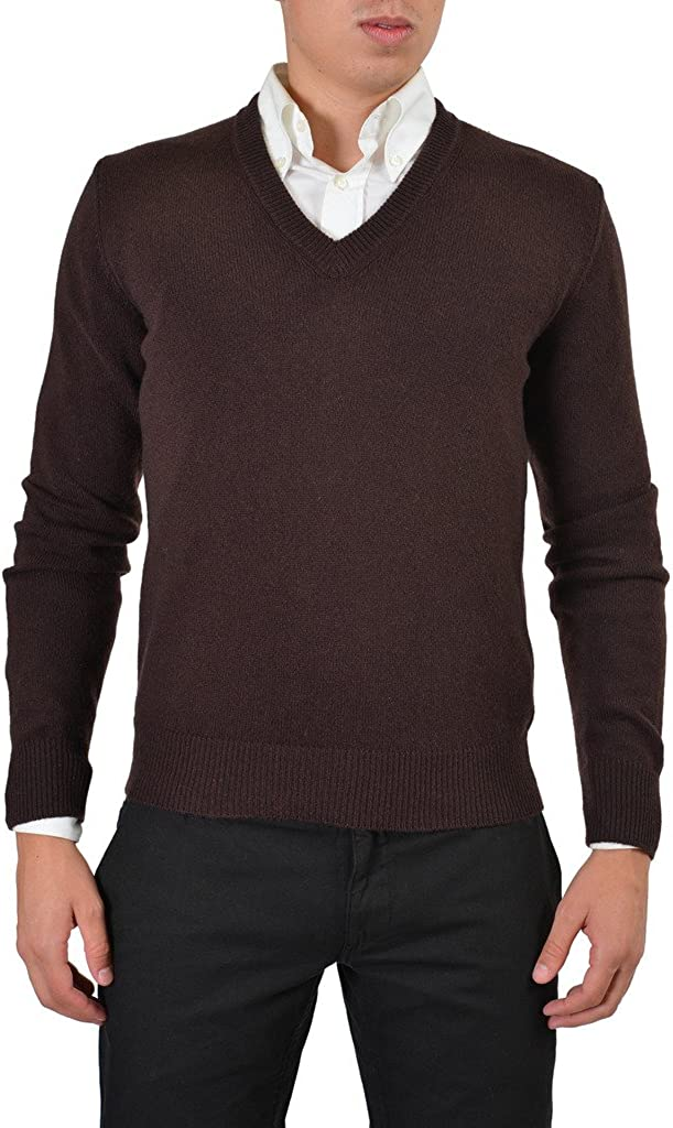 Dolce & Gabbana 100% Wool Brown Knitted V-Neck Pullover Sweater
