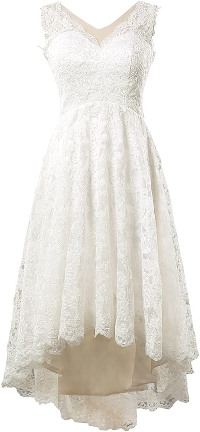 Brand New Vneckline Short front Long Back Lace Wedding Gowns