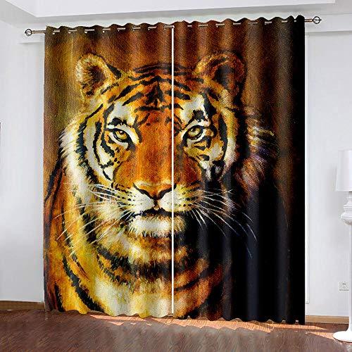 DRFQSK Cortinas Termicas Aislantes Frio Y Calor, Cortinas Opacas para Salon 3D Tigre Animal Cortinas para Ventanas Dormitorio con Ojales, 2 Piezas 100 X 160 Cm(An X Al)