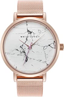 WRISTOLOGY Olivia - 4 Options - Womens Watch Rose Gold Marble Boyfriend Ladies Stainless Steel Metal Mesh Strap Band