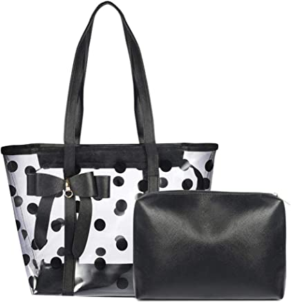 Abuyall Cute Candy Color Polka Dot Clear Bags Beach Tote Shoulder Handbags 9de2e9a5be351
