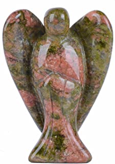(Unakite) - Carved Unakite Gemstone Peace Angel Pocket Guardian AngelHealing Statue 3.8cm