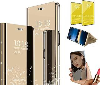 Jtailhne Kompatibel med skal Vivo Z3I (With Fingerprint), spegel skyddande hölje makeup, stående fodral, läder skyddshölj...