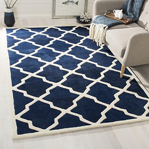 Safavieh Geometrisch gemusterter Teppich, CHT735, Handgetufteter Wolle, Dunkelblau / Elfenbein, 200 x 300 cm